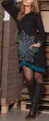 Robe courte noire à capuche imprimée ethnique Assia 274181