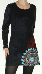 Robe courte Noire à manches longues Ethnique à Mandalas Sylvanna 278869