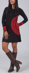 Robe courte noire et rouge � capuche imprim�e ethnique Assia 274177