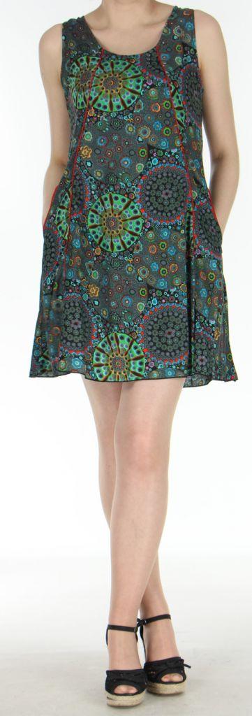 Robe courte noire imprimée de fleurs en viscose Lalou 270488