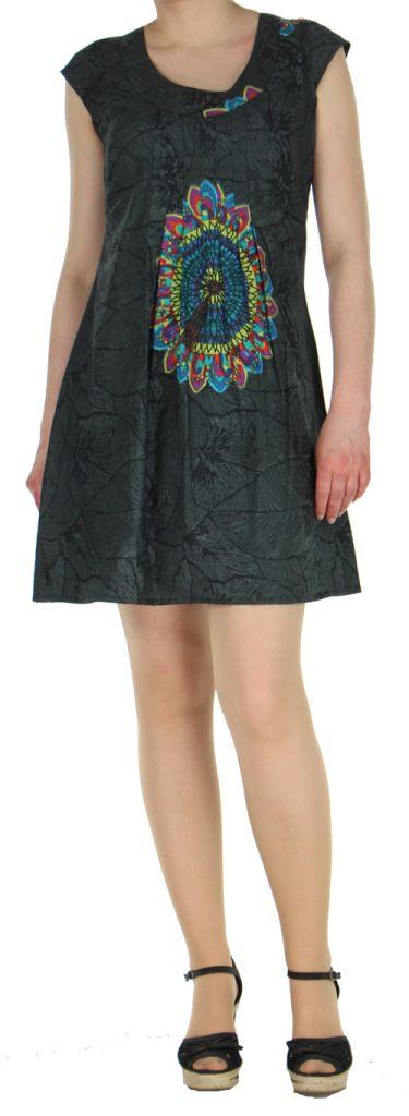 Robe courte noire imprimée ethnique effet plissé Shyma 271122
