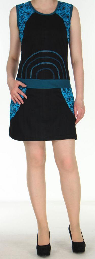 Robe courte noire originale et ethnique en coton Massilia 270709