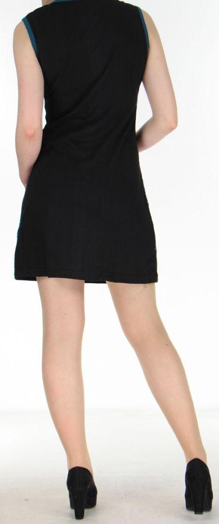 Robe courte noire originale et ethnique en coton Massilia 270710