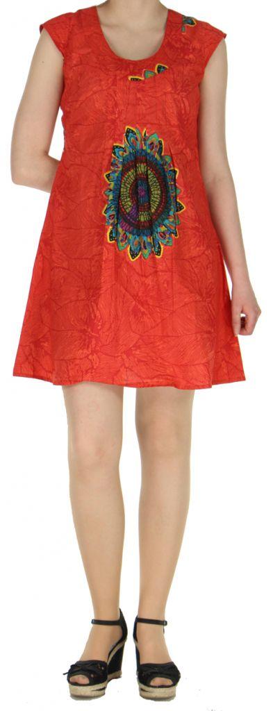 Robe courte orangée imprimée ethnique effet plissé Shyma 271120