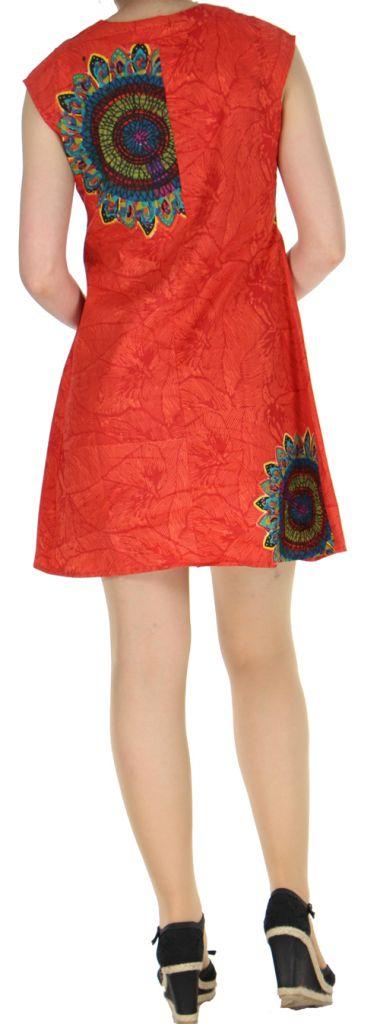Robe courte orangée imprimée ethnique effet plissé Shyma