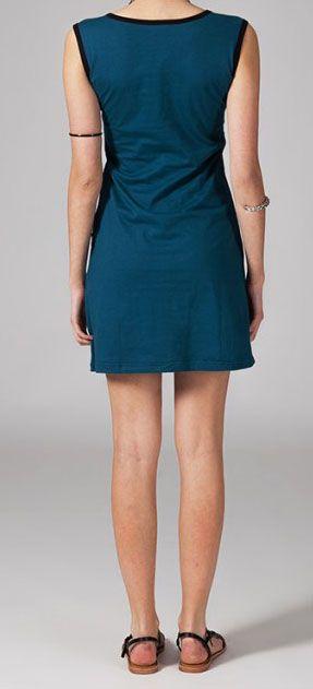 Robe courte originale bleue en coton