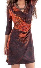 Robe courte Originale et effet portefeuille Carel Marron et Orange 282147