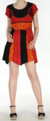 Robe courte originale et tr�s color�e tons orang�s Amita 272398