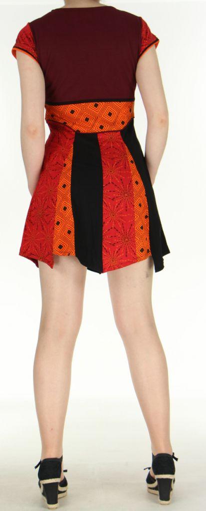 Robe courte originale et très colorée tons orangés Amita 272399