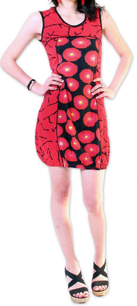Robe courte pour l'été Originale et Imprimée Dounnia Rouge 276910