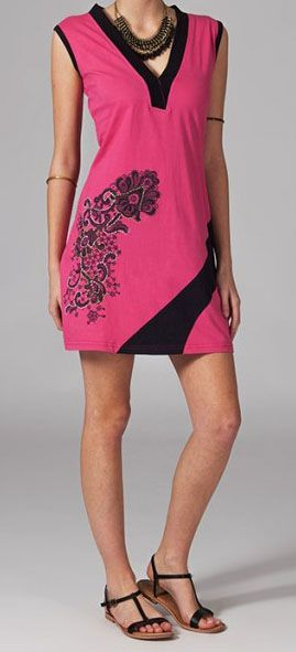 Robe courte rose et noire Rafaela 269054
