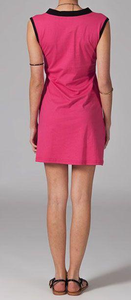Robe courte rose et noire Rafaela