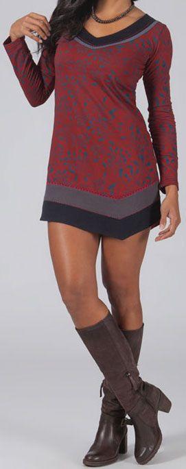 Robe courte rouge à col V ethnique et originale Garrix 274056