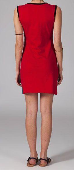 Robe courte rouge en coton Wallys 269002