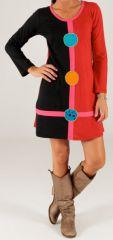 Robe courte Rouge et Noire d'hiver Ethnique et Colorée Salina 279725