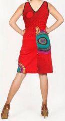 Robe courte rouge imprimée ethnique col en V Roumble