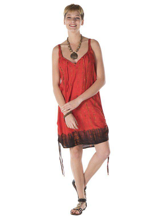 Robe courte rouge légère à fines bretelles Margot 288170