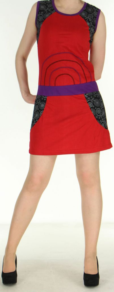 Robe courte rouge originale et ethnique en coton Massilia 270707