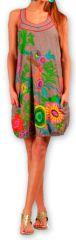 Robe courte sans manches Colorée et Ethnique Eollia Grise 277052