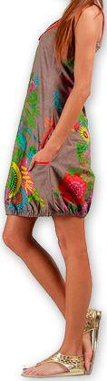 Robe courte sans manches Colorée et Ethnique Eollia Grise 277053