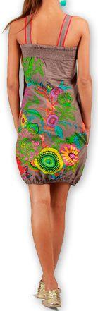Robe courte sans manches Colorée et Ethnique Eollia Grise 277054