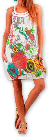 Robe courte sans manches Ethnique et Colorée Eollia Blanche 277048