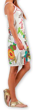 Robe courte sans manches Ethnique et Colorée Eollia Blanche 277049