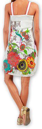 Robe courte sans manches Ethnique et Colorée Eollia Blanche 277050