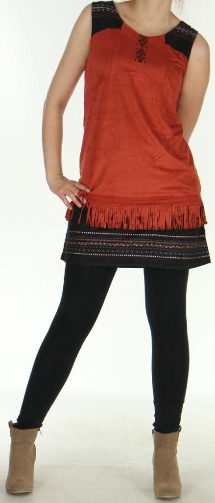 Robe courte sans manches Ethnique et Très originale Shayana Rouille 276214