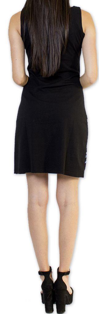 Robe courte sans manches Noire Originale et Imprimée Amenda 276642