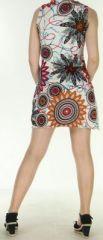Robe courte sans manches originale et ethnique Blanche Efia 272288