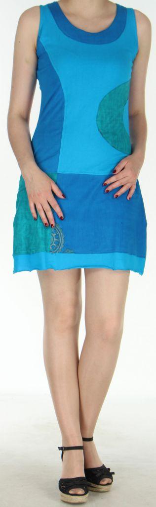 Robe courte sans manches originale et ethnique Bleue Efia 272293