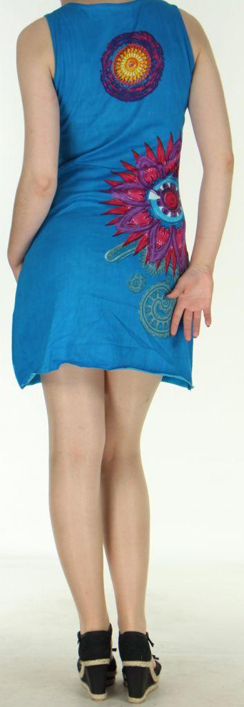 Robe courte sans manches originale et ethnique Bleue Efia 272294