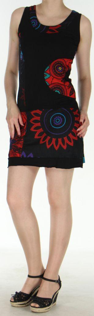 Robe courte sans manches originale et ethnique Noire Efia 272297