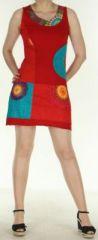 Robe courte sans manches originale et ethnique Rouge Efia 272291