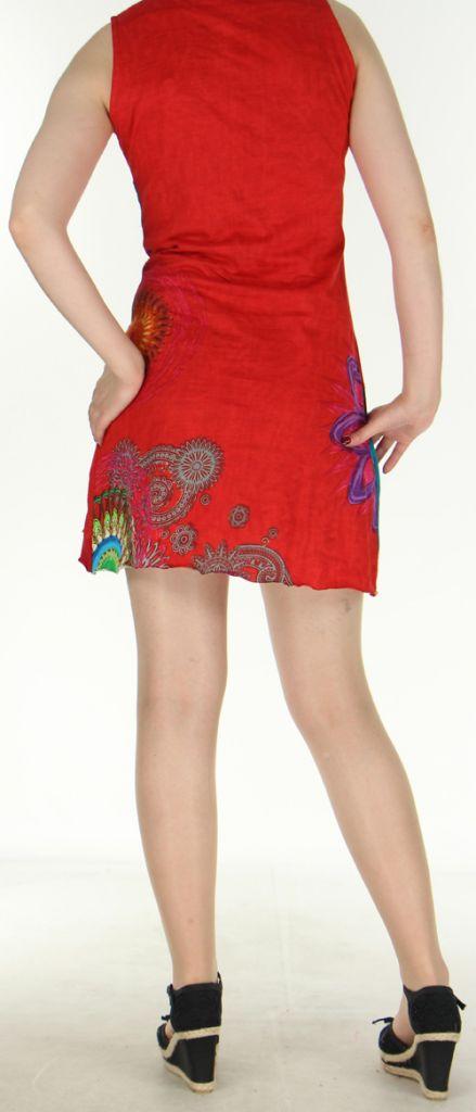 Robe courte sans manches originale et ethnique Rouge Efia 272292