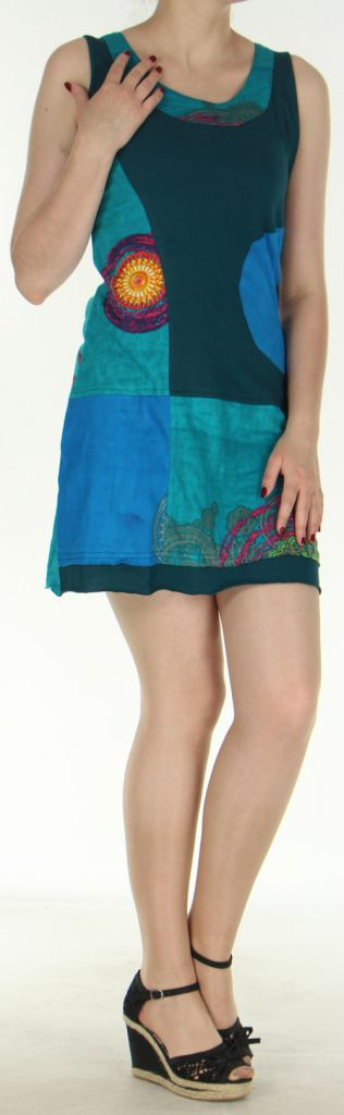 Robe courte sans manches originale et ethnique Verte Efia 272289