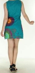 Robe courte sans manches originale et ethnique Verte Efia 272290