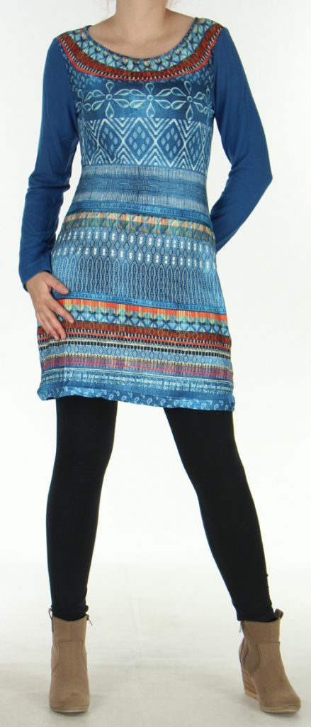 Robe courte Style Jean Ethnique et Colorée Tyméa Denim 276417