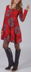 Robe courte style Patineuse Originale et Color�e Layana Rouge 274954