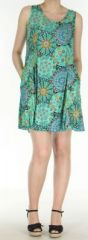 Robe courte turquoise imprim�e de fleurs en viscose Lalou 270484