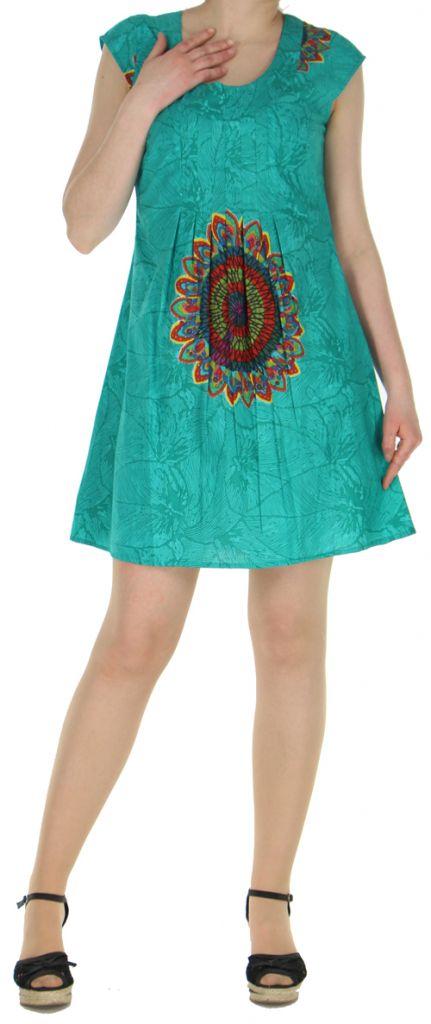 Robe courte turquoise imprimée ethnique effet plissé Shyma 271118