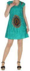 Robe courte turquoise imprim�e ethnique effet pliss� Shyma 271118
