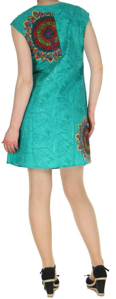 Robe courte turquoise imprimée ethnique effet plissé Shyma