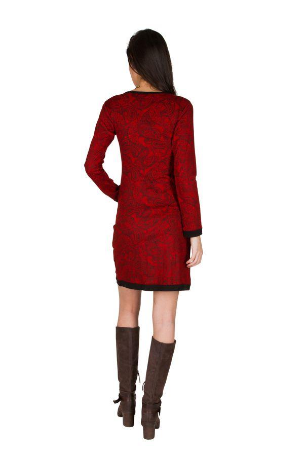 Robe courte ultra tendance avec imprimés et col rond Rouge Olympe 301755