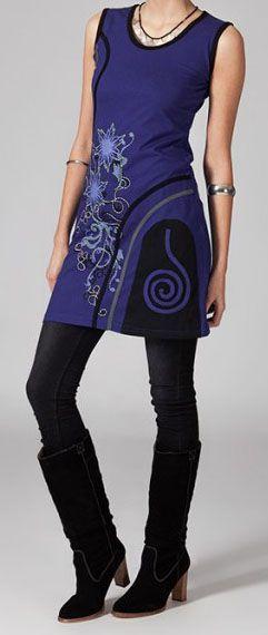 Robe courte violette en coton Vahina 269004