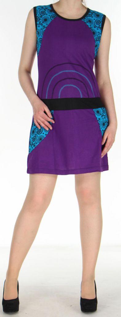 Robe courte violette originale et ethnique en coton Massilia 270711