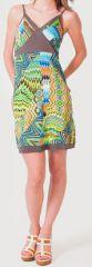 Robe d'été à fines bretelles Ethnique et Colorée Clarisa Bleue 276898