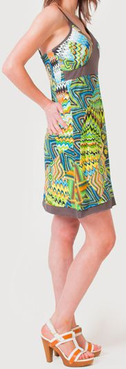 Robe d'été à fines bretelles Ethnique et Colorée Clarisa Bleue 276899