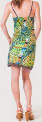 Robe d'été à fines bretelles Ethnique et Colorée Clarisa Bleue 276900
